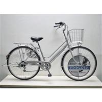 【自転車】KiLaLi キラリ パンクしにくい軽快車 27インチ 外装6段 シルバー