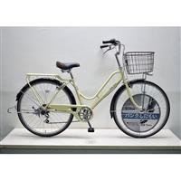 【自転車】KiLaLi キラリ パンクしにくい カジュアル軽快車 26インチ 外装6段 アイボリー