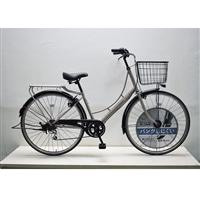 【自転車】KiLaLi キラリ パンクしにくい カジュアル軽快車 27インチ 外装6段 グレー