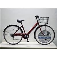 【自転車】キラリ27インチパンクしにくいV型シティ外装6段オートライト レッド