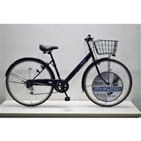 【自転車】キラリ27インチパンクしにくいV型シティ外装6段オートライト ネイビー