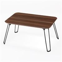 T2 木目調鏡面折りたたみテーブル 45×30 ブラウン