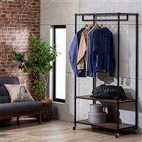 インテリアラック 木製棚付きワードローブ ブラック