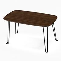 F2 木目折りたたみテーブル 60×40cm ブラウン