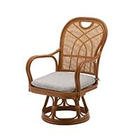 【数量限定】【SU】ハイバック回転籐座椅子 ミドルタイプ