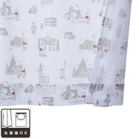 レースカーテン くまのプーさん/ロンドン 100×228 2枚組【別送品】