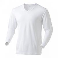 なめらか保温Tシャツ 中厚手 長袖V首WH3L