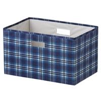 持ち運びしやすい折りたためる収納ボックス チェック グリーン