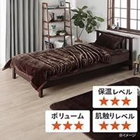 【2020秋冬】スムースウォーム2枚合わせ毛布 ダブル プレイン/ブラウン 180×200