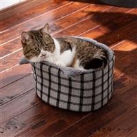 【2020秋冬】猫まんまるベッド チェックグレー