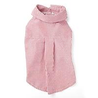 【2021春夏・数量限定】ストライプシャツ レッド Mサイズ ペット服(犬の服)