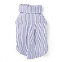 【数量限定・2021春夏】ストライプシャツ ブルー MDサイズ ペット服(犬の服)