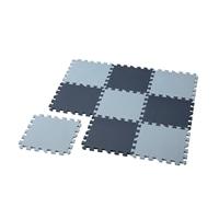 【数量限定・2021春夏】縁付パズルマット9枚組 ブルー/ライトブルー 30×30cm
