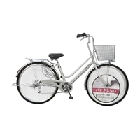【自転車】パンクしない軽快車 26インチ 外装6段 オートライト シルバー