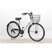 【自転車】パンクしないV型軽快車 27インチ 外装6段 オートライト ホワイト
