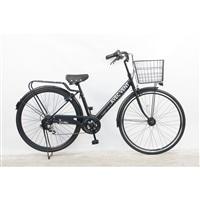 【自転車】パンクしないV型軽快車 27インチ 外装6段 オートライト ブラック