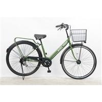 【自転車】パンクしないV型軽快車 27インチ 外装6段 オートライト カーキ