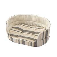 丸型ベッド ストライプベージュ 2Lサイズ