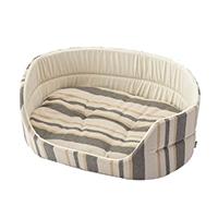 丸型ベッド ストライプベージュ 3Lサイズ