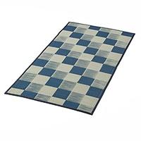 【2021春夏】水拭きできるラグ ブロック ブルー 88×176cm