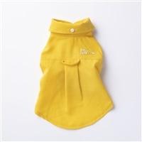 【2021春夏】リネンシャツ イエロー Lサイズ ペット服(犬の服)