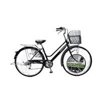 【店舗限定】【自転車】キラクル KiLaCle パンクしにくい軽快車 27インチ 外装6段 オートライト ブラック