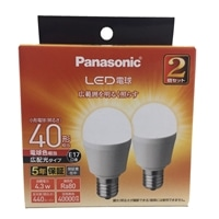 パナソニック LED電球 4.3W 2個セット 電球色相当 LDA4LGE17ESW2T