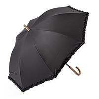 晴雨兼用長傘 55cm フリルブラック