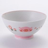 子供用食器 茶碗ブタ ピンク 小