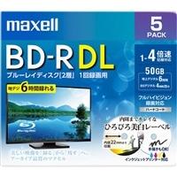 マクセル 録画用ブルーレイディスク BD-R DL ひろびろ美白レーベルディスク(1〜4倍速記録対応)2層 1回録画用 5枚入り BRV50WPE.5S