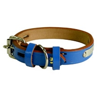 BL 手縫平首輪中一21mm ブルー