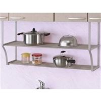 キッチン収納 伸縮パイプ棚 2段 60〜90cm TS2−90L
