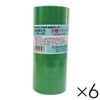 【ケース販売】パイオランクロス 塗装養生テープ 緑 50mm×25m 5巻パック×6 大箱売り[4967529565037×6]