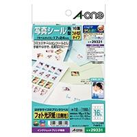 A-one エーワン 写真シール はがきサイズ 角型 16面×12シート フォト光沢紙(白無地)