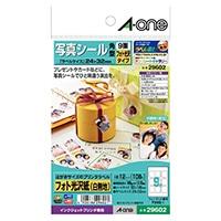 A-one エーワン 写真シール はがきサイズ 角型 9面×12シート フォト光沢紙(白無地)