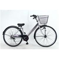 【自転車】【全国配送】シティ車 ダカラットココ 27型 外装6段 シルバー/バイオレット【別送品】