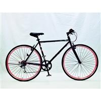 【自転車】【全国配送】700CクロスバイクADEL−�T外装6段BK【別送品】