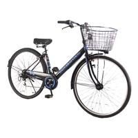 【自転車】【全国配送】シティ車 ダカラット 27型  外装6段 ブラック/ブルー【別送品】