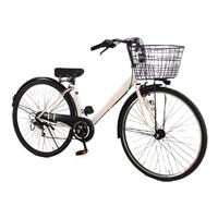 【自転車】【全国配送】シティ車 ダカラット 27型  外装6段  ホワイト/ホワイト【別送品】