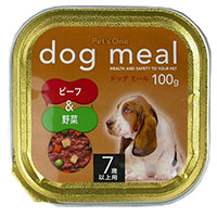 Pet'one ドッグミール トレイ 7歳用 ビーフ&野菜 100g