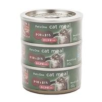 【数量限定】Pet'sOne キャットミール かつお&まぐろ かにかま入り ミニ(60g)3缶パック