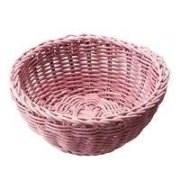 レンジで使えるバスケット 丸型 ピンク