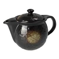 丸型ポット 黒釉茶吹き