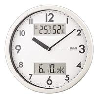 ノア 温湿度計付き掛け時計 ダブルメジャー W-631WH