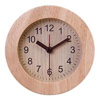 【trv・数量限定】置時計 ウッド ラウンド ナチュラル
