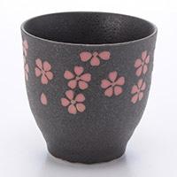 長湯呑 花の舞 (黒) 190ml