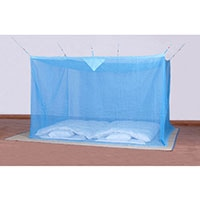 洗えるナイロン蚊帳 ブルー 3畳用【別送品】