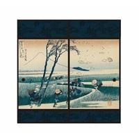 浮世絵襖紙 駿州江尻 91×180 2枚