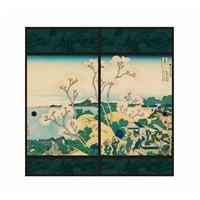 浮世絵襖紙 東海道品川御殿山 91×180 2枚