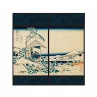 浮世絵襖紙 礫川雪ノ且 91×180 2枚